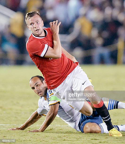 Tom Cleverly of Manchester United during the preseason friendly match between Los Angeles Galaxy and Manchester United at the Rose Bowl in Pasadena...