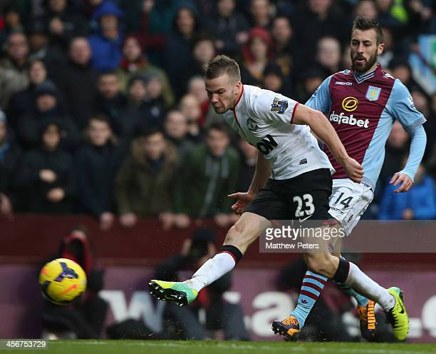 Tom Cleverly of Manchester United scores their third goal during the Barclays Premier League match between Aston Villa and Manchester United at Villa...