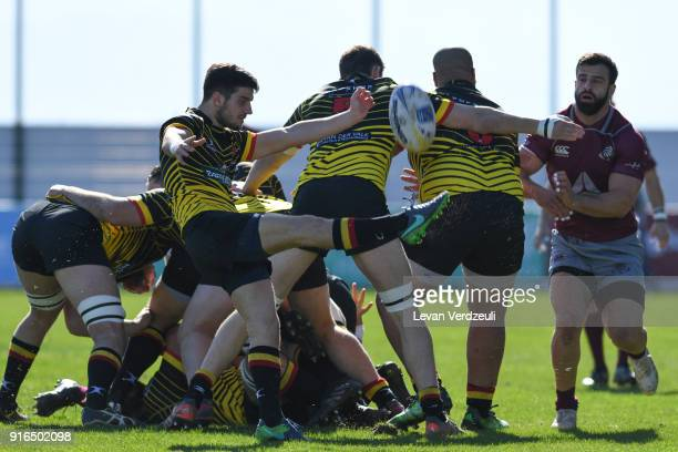 Tom Cocqu of Belgium kickes the ball during the Rugby Europe Championship round 1 match between Georgia and Belgium at Aia Arena on February 10 2018...