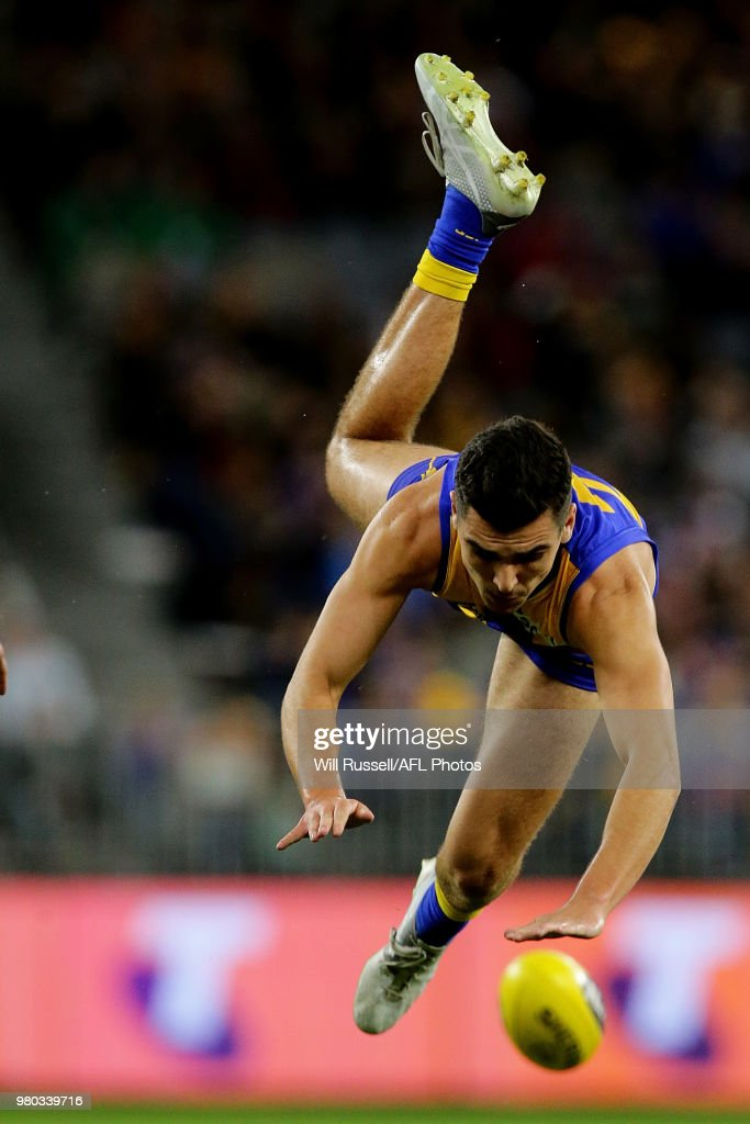 Tom Cole of the Eagles in action during the round 14 AFL match between the West Coast Eagles and the Essendon Bombers at Optus Stadium on June 21, 2018 in Perth, Australia.