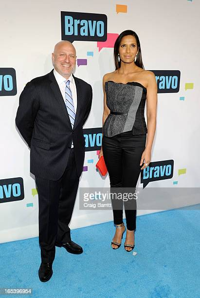 Tom Colicchio and Padma Lakshmi attend the 2013 Bravo New York Upfront at Pillars 37 Studios on April 3 2013 in New York City
