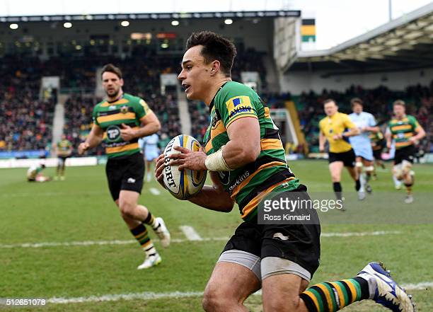 Tom Collins of Northampton goes over for a try during the Aviva Premiership match between Northampton Saints and Worcester Warriors at Franklin's...