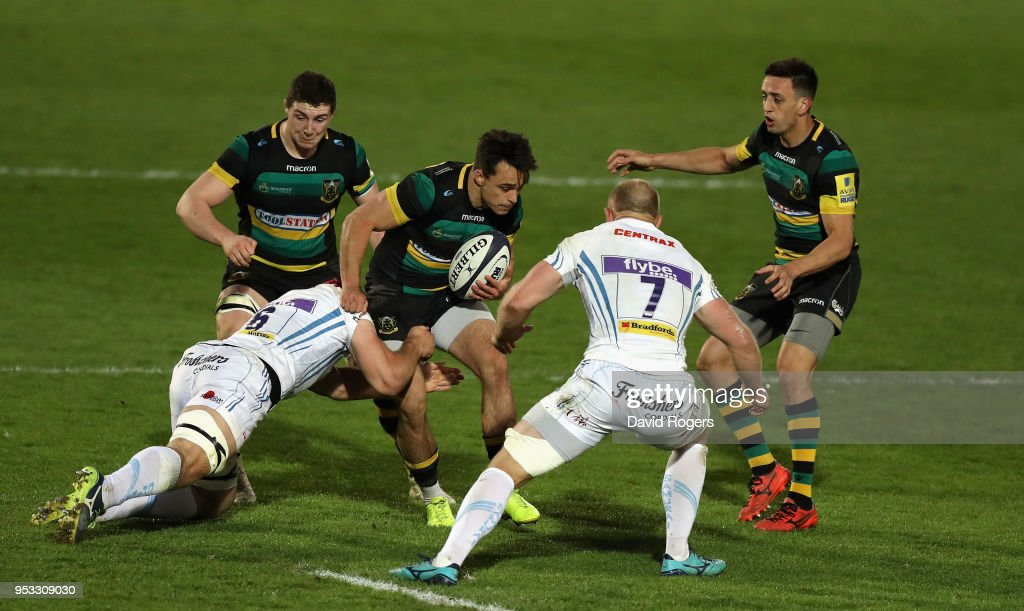 Tom Collins of Northampton is tackled during the Aviva A League Final between Northampton Wanderers and Exeter Braves at Franklin's Gardens on April 30, 2018 in Northampton, England.