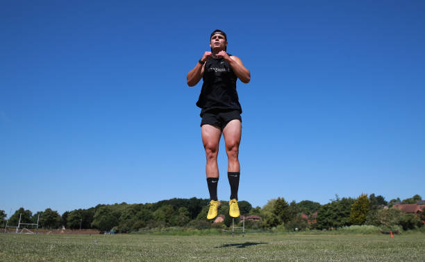 GBR: Northampton Saints Rugby Player Tom Collins Training During The Coronavirus Pandemic