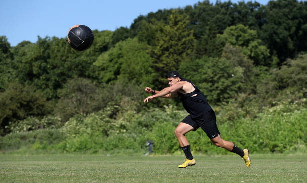 GBR: Northampton Saints Rugby Player Tom Collins Training During The Coronavirus Pandemic