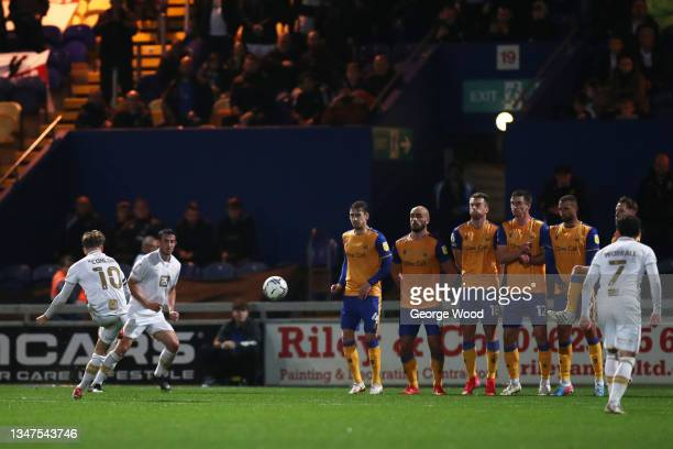 Tom Conlon of Port Vale scores their side's first goal from a free kick during the Sky Bet League Two match between Mansfield Town and Port Vale at...