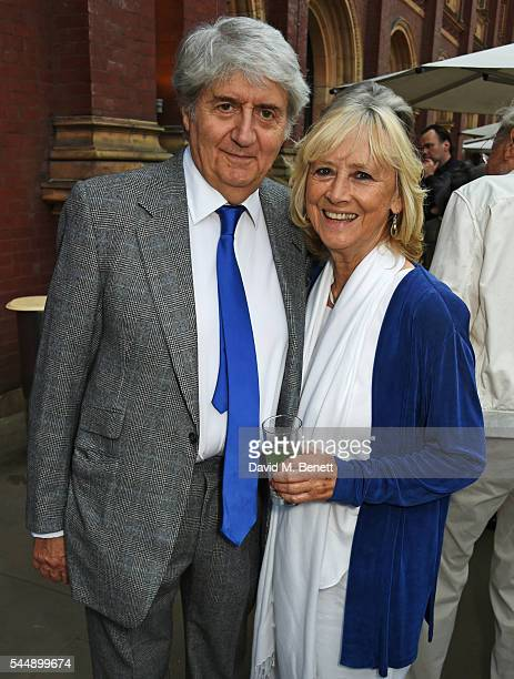 Tom Conti and Kara Wilson attend the Olivier Awards Summer Party in celebration of the new exhibition 'Curtain Up' at The VA on July 4 2016 in London...
