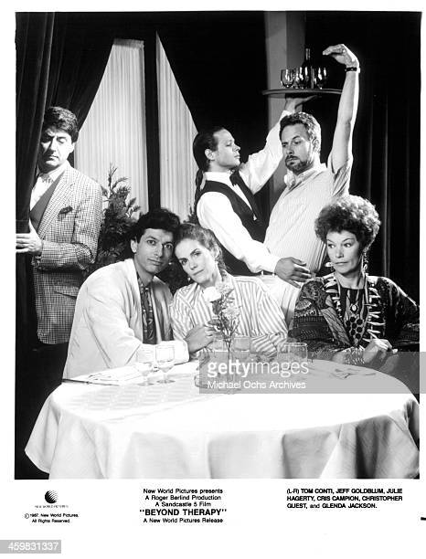 Tom Conti Jeff Goldblum Julie Hagerty Cris Campion Christopher Guest and Glenda Jackson pose on set of the movie 'Beyond Therapy ' circa 1987