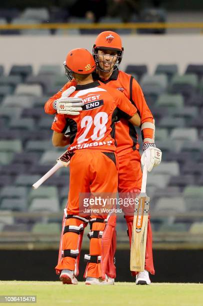 Tom Cooper and Jake Weatherald shake hands after their 7 wicket win during the JLT One Day Cup match between South Australia and New South Wales at...