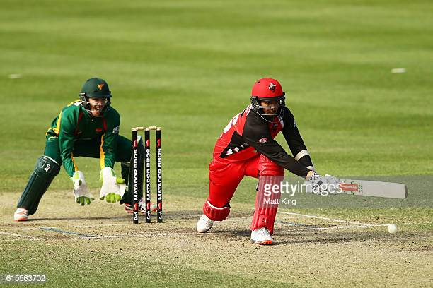 Tom Cooper of the Redbacks bats during the Matador BBQs One Day Cup match between South Australia and Tasmania at Hurstville Oval on October 19 2016...