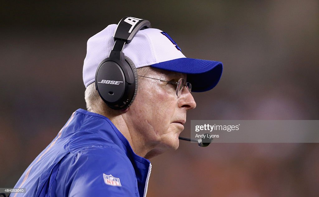 Tom Coughlin the head coach of the New York Giants watches the action against the Cincinnati Bengals during a preseason game at Paul Brown Stadium on August 14, 2015 in Cincinnati, Ohio.