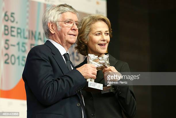 Tom Courtenay and Charlotte Rampling pose after winning the Silver Bear for Best Actress for the movie '45 years' at the Award Winners press...
