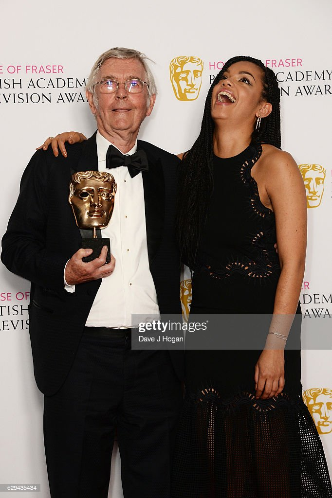 Tom Courtenay (L) and Georgina Campbell pose for a photo in the winners room during the House Of Fraser British Academy Television Awards 2016 at the Royal Festival Hall on May 8, 2016 in London, England.