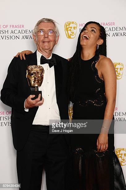Tom Courtenay and Georgina Campbell pose for a photo in the winners room during the House Of Fraser British Academy Television Awards 2016 at the...