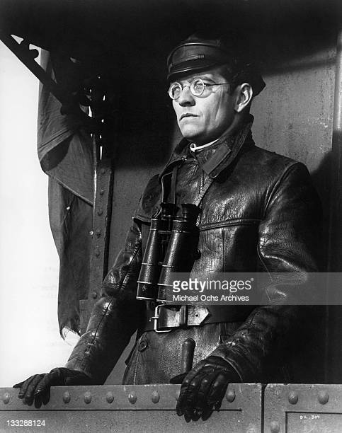 Tom Courtenay looking from the rear of his armoured train in a scene from the film 'Doctor Zhivago' 1965