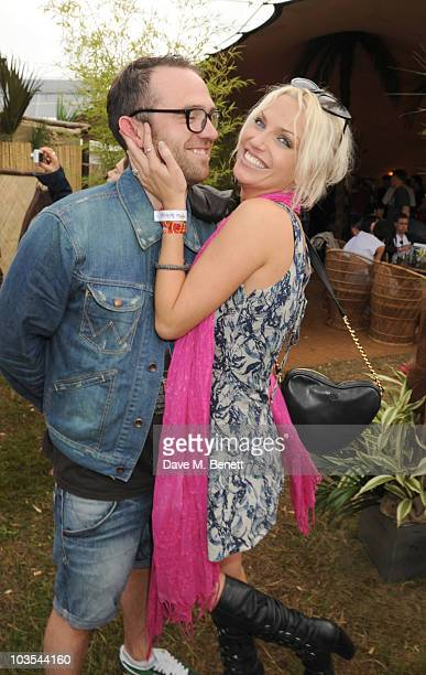 Tom Crane and Sarah Harding pose for a photograph in the official VIP backstage area hosted by Mahiki during Day Two of V Festival 2010 on August 22...