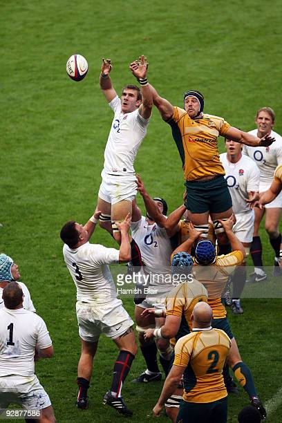 Tom Croft of England and Mark Chisholm of Australia compete for lineout ball during the Investec Challenge Series match between England and Australia...