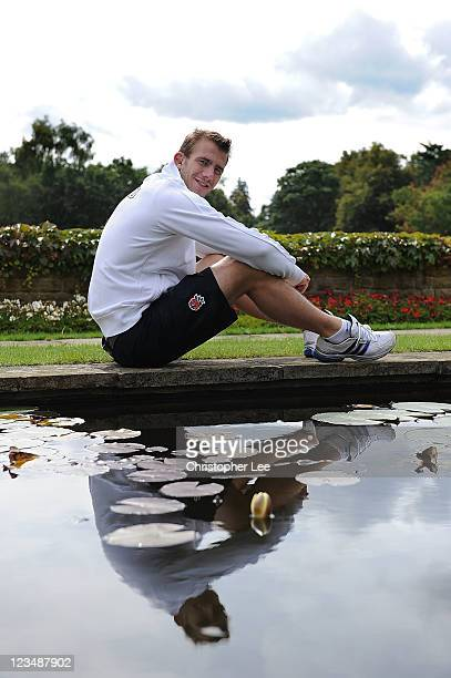 Tom Croft of England poses for the camera's during the England Rugby Team Departure Press Conference at Pennyhill Park on August 29 2011 in Bagshot...