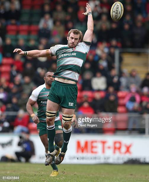 Tom Croft of Leicester attempts to gather the ball during the Aviva Premiership match between Leicester Tigers and Exeter Chiefs at Welford Road on...