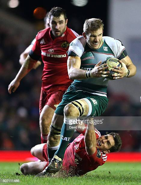 Tom Croft of Leicester breaks with the ball during the European Rugby Champions Cup match between Leicester Tigers and Munster at Welford Road on...