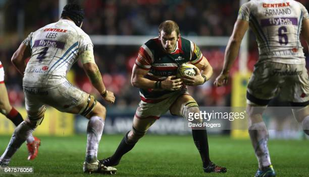 Tom Croft of Leicester charges upfield during the Aviva Premiership match between Leicester Tigers and Exeter Chiefs at Welford Road on March 3 2017...