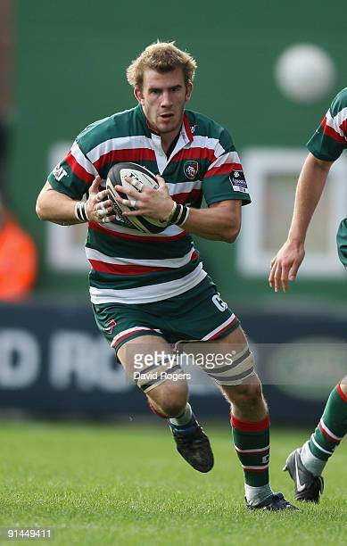 Tom Croft of Leicester charges upfield during the Guinness Premiership match between Leicester Tigers and Worcester Warriors at Welford Road on...