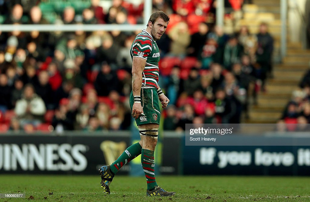 Tom Croft of Leicester Tigers walks off after being injured during the LV=Cup match between Leicetser Tigers and London Wasps at Welford Road on January 26, 2013 in Leicester, England.