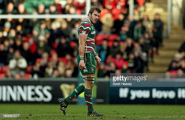 Tom Croft of Leicester Tigers walks off after being injured during the LV=Cup match between Leicetser Tigers and London Wasps at Welford Road on...