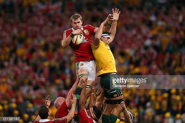 Tom Croft of the Lions takes a lineout ball over Rob Simmons of the Wallabies during the First Test match between the Australian Wallabies and the...