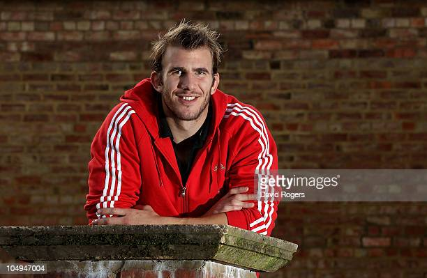 Tom Croft the Leicester and England flank forward poses during a photoshoot on October 7 2010 in Leicester England