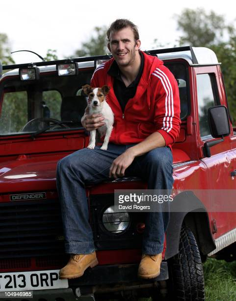 Tom Croft the Leicester and England flank forward poses with his dog Scampi during a photoshoot on October 7 2010 in Leicester England