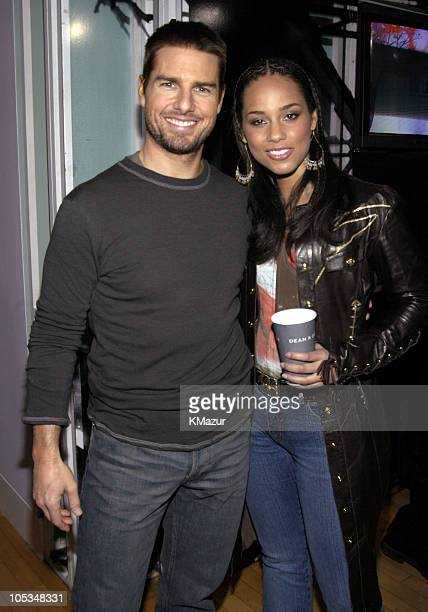 Tom Cruise and Alicia Keys during Tom Cruise and Alicia Keys Visit MTV's TRL at MTV Studios Times Square in New York City New York United States