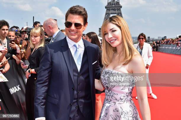 Tom Cruise and Alix Benezech attend the Global Premiere of 'Mission Impossible Fallout' at Palais de Chaillot on July 12 2018 in Paris France