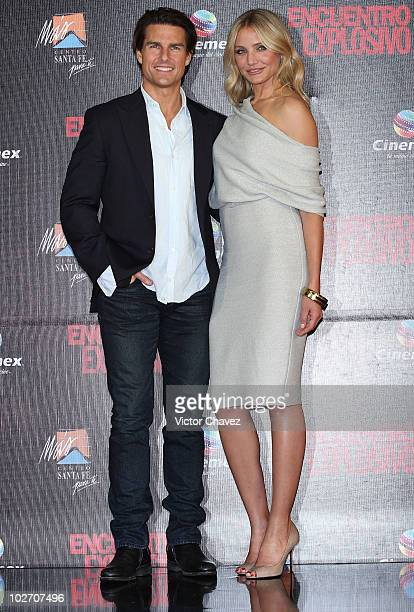 "Tom Cruise and Cameron Diaz attend the premiere of ""Knight & Day"" at Cinemex Santa Fe on July 7, 2010 in Mexico City, Mexico."