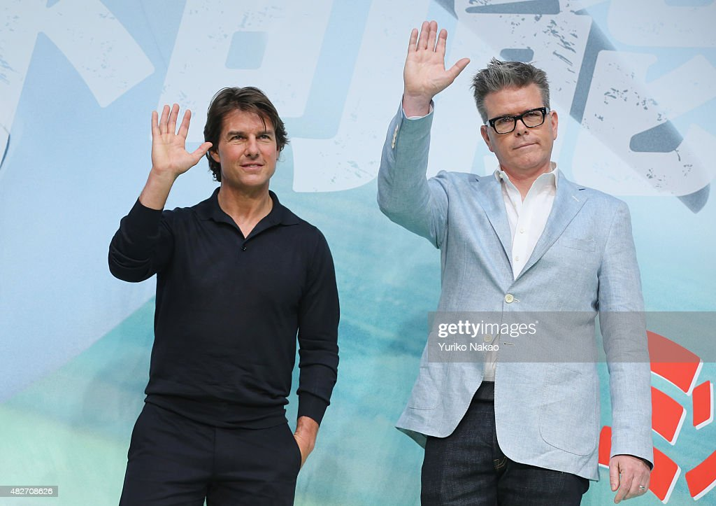 Tom Cruise and Christopher McQuarrie attend the Japan Press Conference of 'Mission: Impossible - Rogue Nation' at the Peninsula Hotel Ballroom on August 2, 2015 in Tokyo, Japan.