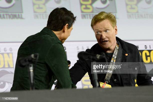 Tom Cruise and Conan O'Brien speak at the Top Gun Maverick panel during 2019 ComicCon International at San Diego Convention Center on July 18 2019 in...
