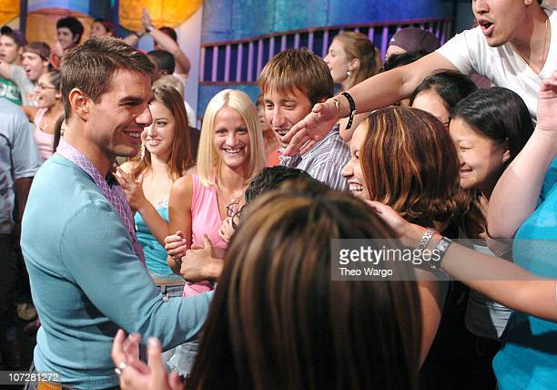Tom Cruise and Fans during Tom Cruise Jamie Foxx and Jada Pinkett Smith Visit MTV's TRL August 5 2004 at MTV Studios Times Square in New York City...