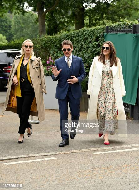 Tom Cruise and Hayley Atwell attend Wimbledon Championships Tennis Tournament at All England Lawn Tennis and Croquet Club on July 10, 2021 in London,...