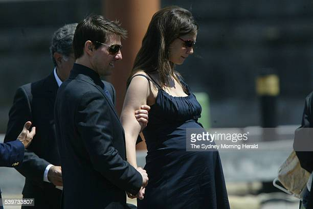 Tom Cruise and his pregnant fiancee Katie Holmes leave Kerry Packer's memorial service at the Sydney Opera House 17 February 2006 SMH News Picture by...