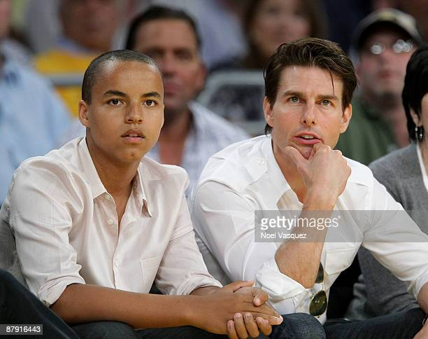 Tom Cruise and his son Connor Cruise attend Game Two of the Western Conference Finals during the 2009 NBA Playoffs between the Los Angeles Lakers and...