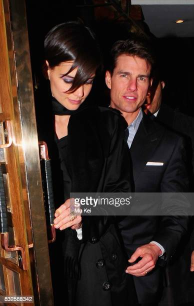 Tom Cruise and Katie Holmes dine at The Ivy restaurant before returning to their hotel on January 21 2009 in London England