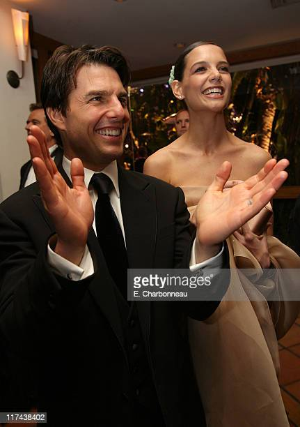 Tom Cruise and Katie Holmes during 2007 Vanity Fair Oscar Party Hosted by Graydon Carter Inside at Mortons in West Hollywood California United States