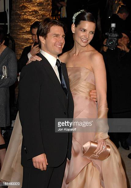 Tom Cruise and Katie Holmes during 2007 Vanity Fair Oscar Party Hosted by Graydon Carter at Mortons in West Hollywood California United States