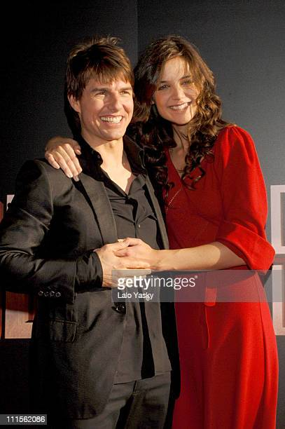 Tom Cruise and Katie Holmes during 'War of the Worlds' Madrid Premiere at Avenida Cinema in Madrid Spain