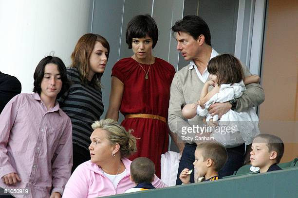 Tom Cruise and Katie Holmes with daughters Suri Cruise and Isabella KidmanCruise with David Beckham's sons Brooklyn Romeo and Cruz Beckham watch the...