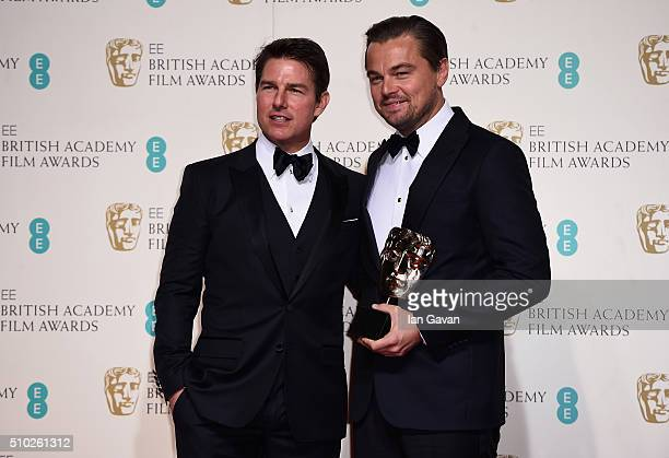 Tom Cruise and Leonardo Dicaprio winner of Best Actor for 'The Revenant' pose in the winners room at the EE British Academy Film Awards at the Royal...
