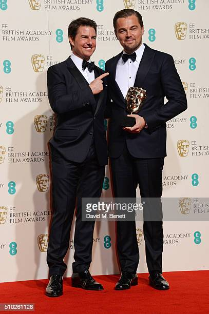 Tom Cruise and Leonardo DiCaprio winner of the Best Actor award for 'The Revenant' pose in the winners room at the EE British Academy Film Awards at...