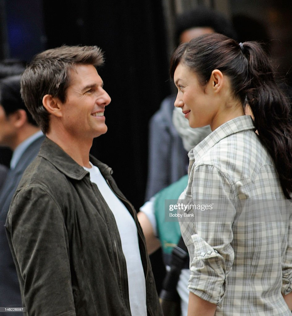 Tom Cruise and Olga Kurylenko filming on location for 'Oblivion' on June 12, 2012 in New York City.