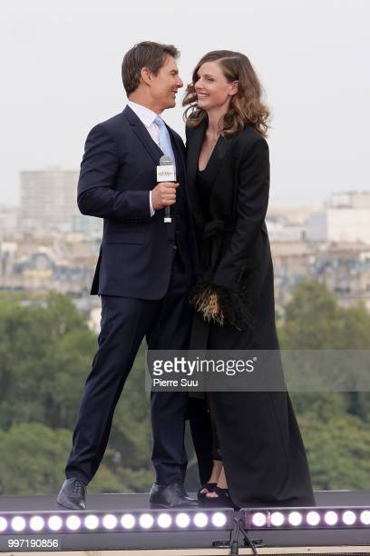 Tom Cruise and Rebecca Ferguson attend the 'Mission Impossible Fallout' Global Premiere on July 12 2018 in Paris France