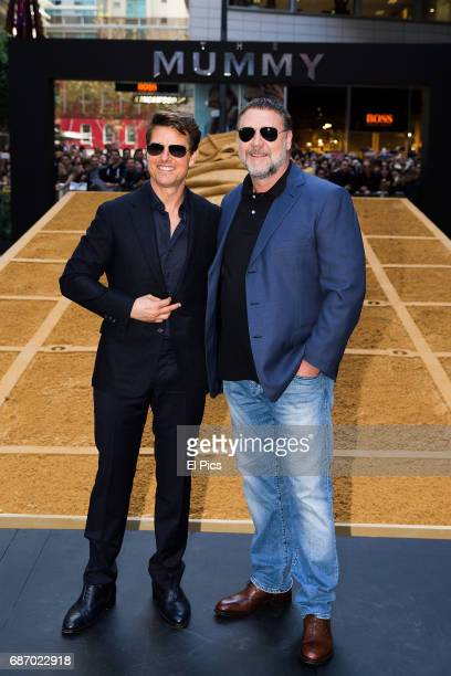 Tom Cruise and Russell Crowe during a photo call for The Mummy at World Square on May 23 2017 in Sydney Australia
